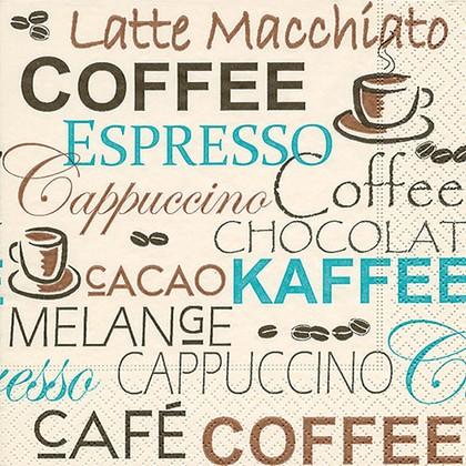 Салфетки для декупажа Кофе эспрессо, 33x33см, 3 слоя, 20шт Paper+Design 21794