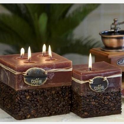 "Bartek Candles RUSTIC COFFEE Свеча ""Кофе"" - образ коллекции кофейного тона, блок 95х95х90мм, артикул 5907602656053"