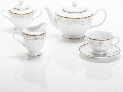 Сервиз чайный Голубой узор 6/17 Porcelaine Czech Gold Hands LUISA248GSC/17