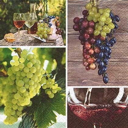 Салфетки для декупажа Урожай винограда, 33x33см, 3 слоя, 20шт Paper+Design 22015