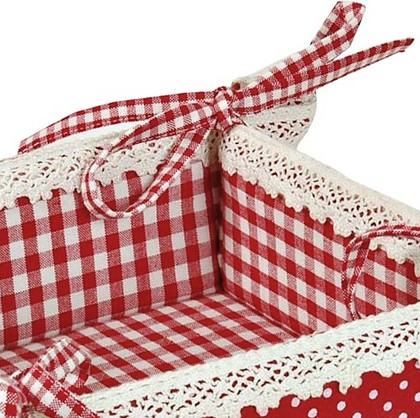 "Clayre & Eef FLOWER BASKET Корзина для хлеба ""Цветочная корзина"" - фрагмент, 35х35см, красная, артикул FB47R"