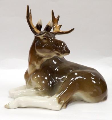 Скульптура Молодой лось, фарфор ИФЗ 82.01011.00.1