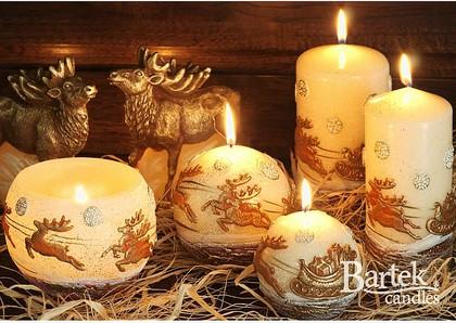 "Bartek Candles REN Свеча ""Олени"" - образ коллекции A, шар, диаметр 80мм, артикул 5907602653083"