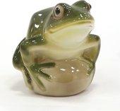 Скульптура Лягушка прудовая зелёная, фарфор ИФЗ 82.63683.00.1