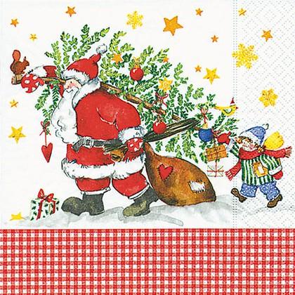 Салфетки для декупажа Дед Мороз с подарками, 33x33см, 3 слоя, 20шт Paper+Design 60749