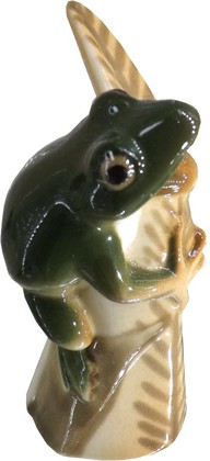 Статуэтка Лягушка на листике. Изумрудная, 8см, фарфор ИФЗ 82.63982.00.1