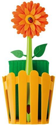 Щётка для посуды с губкой на подставке Vigar Flower Power 7201
