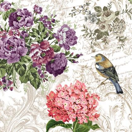 Салфетки для декупажа Очаровательный сад, 33x33см, 3 слоя, 20шт Paw SDL000400