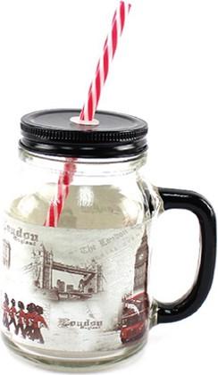 Стеклянная банка для напитков 550мл с соломинкой Лондон The Leonardo Collection LP26548
