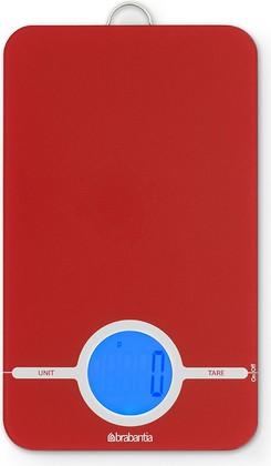Цифровые кухонные весы 5кг/1г стеклянные красные с петлёй для подвешивания Brabantia 480744