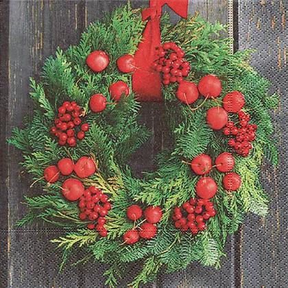 Салфетки для декупажа Рождественский венок, 33x33см, 3 слоя, 20шт Paper+Design 60871