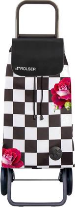 Сумка-тележка хозяйственная чёрно-белая с розами Rolser LOGIC RG PAC079f-tres