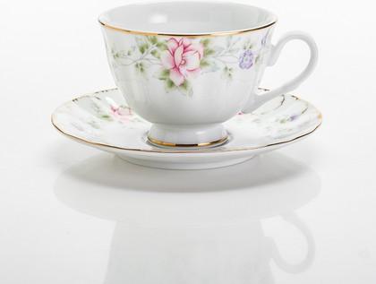Сервиз чайный Сакура 250мл 6/12 Porcelaine Czech Gold Hands LUISA027GS250х6