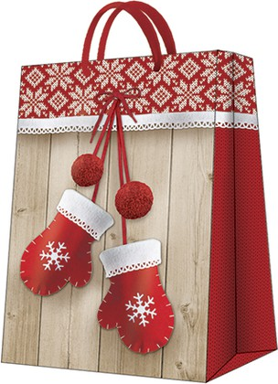 "Пакет подарочный ""Зимние варежки"" 30x41x12см Paw AGB021102"