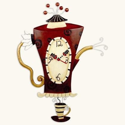 """Enesco - Allen Designs Studio - настенные часы """"Горячий чай"""" (Steaming Tea), высота 49см, артикул C652"""