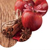 Салфетки круглые Корица и яблоко 32см, 3 слоя, 20шт Paw SDR073200