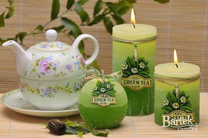 "Bartek Candles RUSTIC GREEN TEA Свеча ""Зелёный чай"" - образ коллекции, блок 70х70х140мм, артикул 5907602648744"