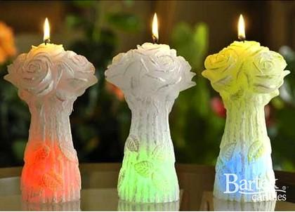 "Bartek Candles BOUQUET ROSE Свеча ""Букет"" - три штуки, фигурка с подсветкой 200мм, артикул 5907602662672"