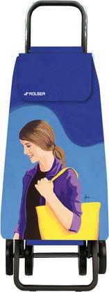 Сумка-тележка хозяйственная синяя с рисунком Rolser DOS+2 MOU137azul/lois