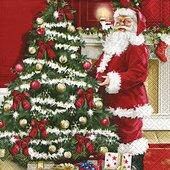 Салфетки для декупажа Санта у ёлки, 33x33см, 3 слоя, 20шт Paper+Design 60753