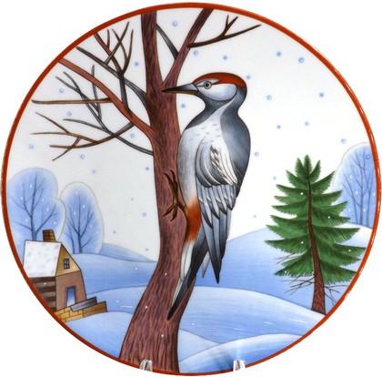 Тарелка декоративная Зимующие птицы. Пёстрый дятел, ф. Эллипс ИФЗ 80.80125.00.1