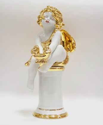 Скульптура Ангелочек золотые крылья, Дулёвский фарфор ДС1177