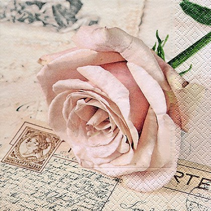Салфетки для декупажа Открытка с розой, 33x33см, 3 слоя, 20шт Paper+Design 21704