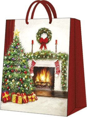 """Пакет подарочный """"Рождественский интерьер"""" 20x25x10см Paw AGB031303"""