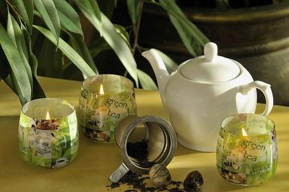 """Свеча """"Зелёный чай"""" стакан 8х7cм Bartek Candles 127061"""