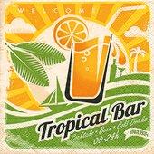 Салфетки коктейль Тропический бар, 25x25см, 3 слоя, 20шт Paper+Design 11821