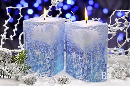 "Свеча с подсветкой ""Зимний пейзаж"", блок 7х7х14см Bartek Candles 129021"