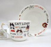 Кружка с блюдцем Обожаю кошек, Chatsworth Roy Kirkham XLOVC1100