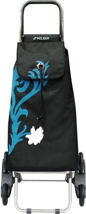 Сумка-тележка хозяйственная черная с рисунком ROLSER RD6 IMX009turquesa