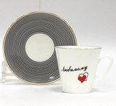 Чашка с блюдцем Сердечки-2. Любимому, ф. Чёрный кофе ИФЗ 81.16017.00.1