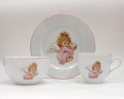 Набор для завтрака с рисунком Ангелочек розовый Porcelaine Czech Gold Hands DSRITAG056/3