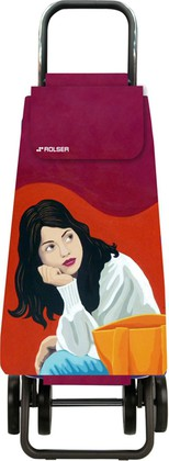 Сумка-тележка хозяйственная красная с рисунком Rolser DOS+2 MOU137rojo/joana
