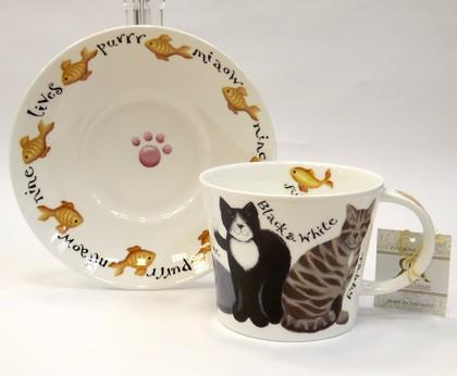 Чайная пара для завтрака Коты на прогулке 500мл Roy Kirkham COWHI1110
