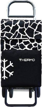 Термосумка-тележка хозяйственная чёрно-белая Rolser QUATTRE.2 THERMO TER049blanco