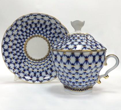 Чашка с блюдцем и крышкой чайная Кобальтовая сетка, ф. Подарочная-2 ИФЗ 81.15419.00.1