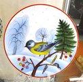 Тарелка декоративная Зимующие птицы. Большая синица, ф. Эллипс ИФЗ 80.80789.00.1