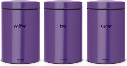 Набор из 3 стальных контейнеров для кофе, чая и сахара 1.4л, фиолетовый Brabantia 484186