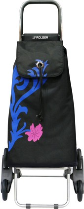 Сумка-тележка хозяйственная черная с рисунком ROLSER RD6 IMX009azul