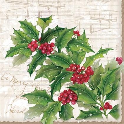 Салфетки для декупажа Зимние ягоды 33x33см, 3 слоя, 20шт Paw SDL700000