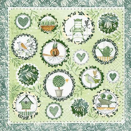 Салфетки коктейль Садовый сезон, 25x25см, 3 слоя, 20шт Paper+Design 11665