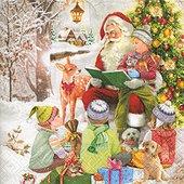 Салфетки для декупажа Дед Мороз и дети, 33x33см, 3 слоя, 20шт Paper+Design 60809