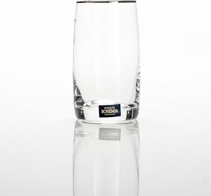 Фужеры 6шт Идеал плат. полоска 250мл вода Crystalite Bohemia 25015/250/20732K