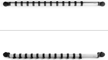 Настенный держатель-рейлинг с 12 крючками 54.5см, чёрный / нержавеющая сталь Brabantia Profile 214585