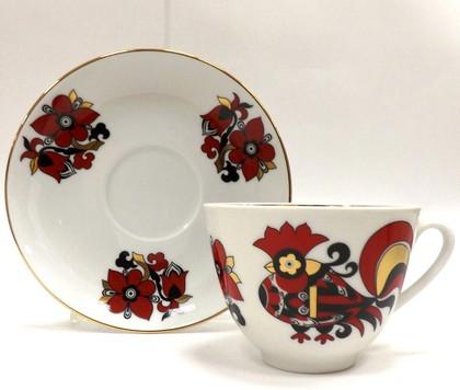 Чашка с блюдцем Красные петушки, ф. Весенняя ИФЗ 81.15902.00.1