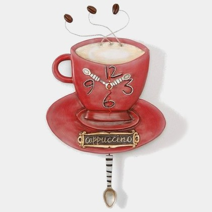 """Enesco- Allen Designs Studio - настенные часы """"Чашка Капучино"""" (Cappuccino Cup), высота 33см, артикул P8022"""