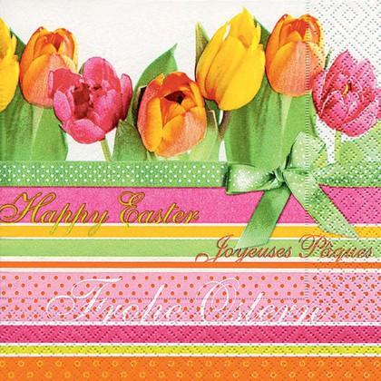 Салфетки коктейль Тюльпаны и полосы, 25x25см, 3 слоя, 20шт Paper+Design 11650